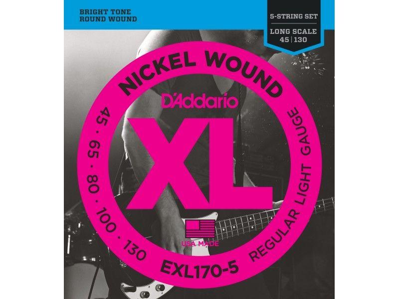 Купить D'addario EXL-170-5 Струны для бас-гитары (45-130)