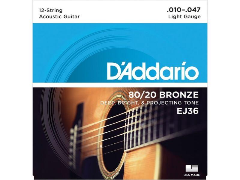Купить D'addario EJ-36 Струны для 12-стр. акустической гитары (10-47)
